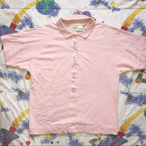 VTG 90s Floral Embroidered Polo T Shirt